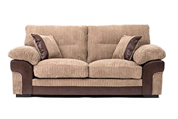 Abakus Direct Samson 3 Seater Cord Chenille Fabric Sofa In Brown