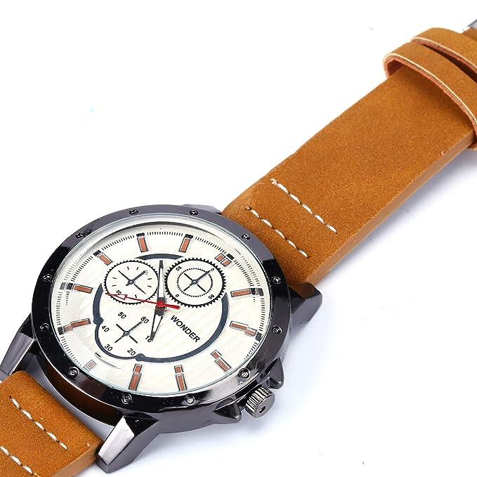 Amazon.com: Wrist watch Sport Busniess Casual Quartz Analog Watch for Men Fashion Blue Leather Strap: Watches