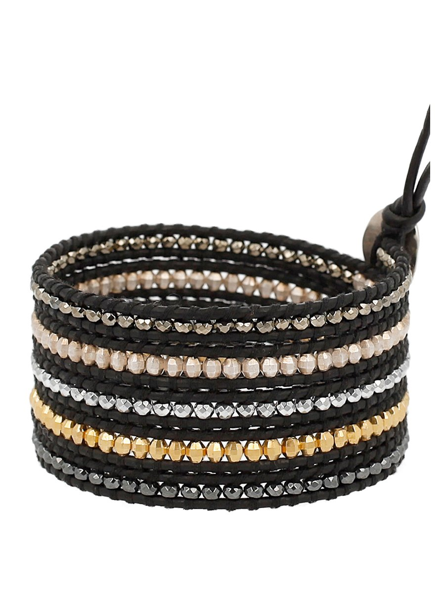 Chan Luu Natural Black Mix of Semi Precious Stones and Nuggets Leather Wrap Bracelet