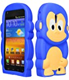 Bastex Silicone Character Case for Sprint Samsung Galaxy S2, Epic 4G Touch D710 - Blue & Brown Monkey