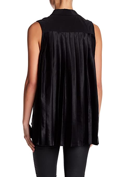 eea997cb90bb3d Amazon.com  Equipment Sleeveless Slim Signature Trapeze Pleat Back Silk  Shirt Blouse in Black  Clothing