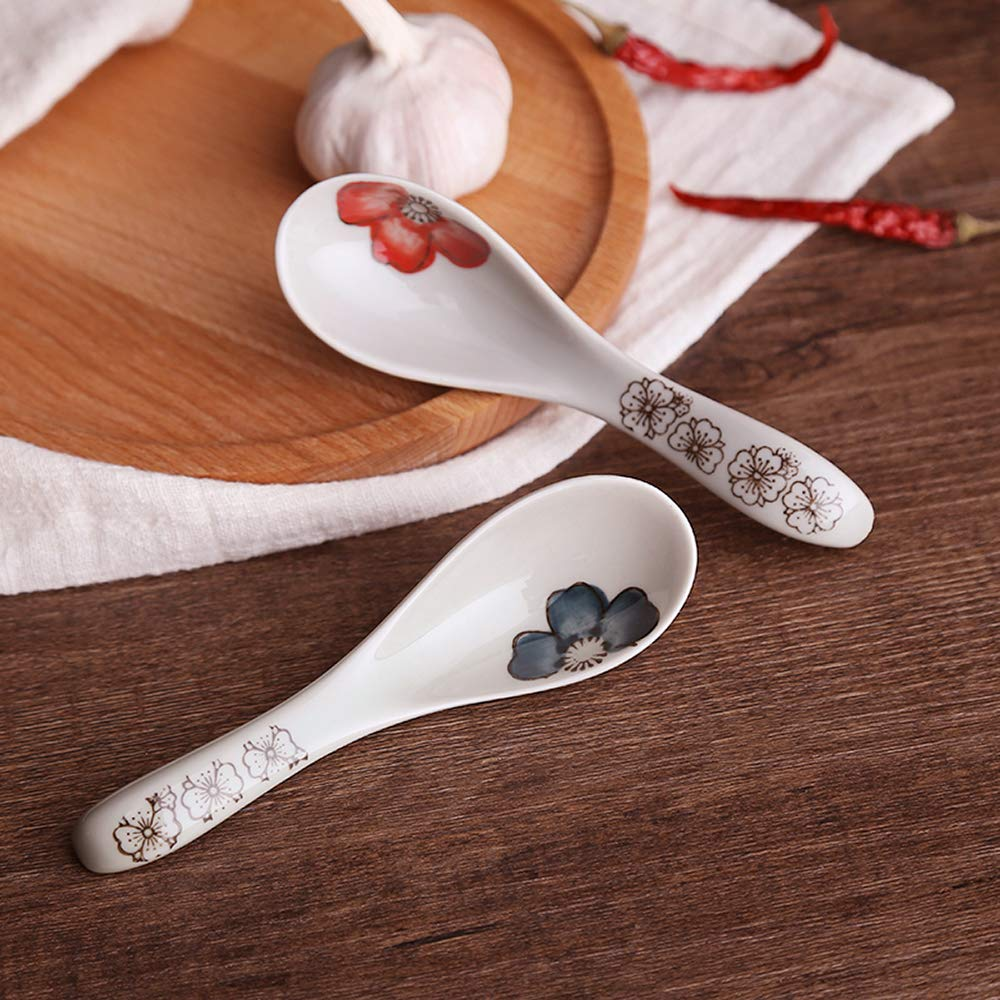 Longpro Ceramics Soup Spoons Set Hand Painted Flower Glaze Porcelain Chinese Japanese Asian Rice Spoons Appetizer Tableware Meal Partner Ancient Rhyme