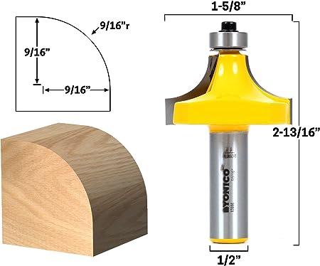 "1//2/"" Shank Dia 11//16/"" Radius Woodworking Round Over Beading Edging Router Bit"