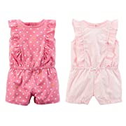Carter's Set Of 2 Baby Girl's Shorts Rompers (3 Months, Pink White Stripe and Pink Dot Ruffle)
