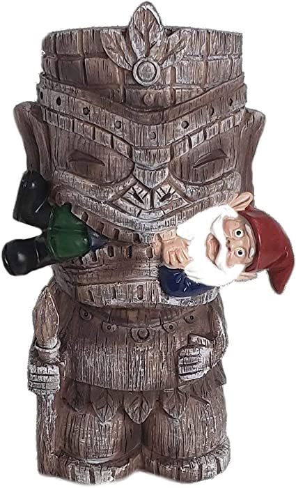 Funny Guy Mugs Garden Gnome Statue - Tiki and A Gnome - Indoor/Outdoor Garden Gnome Sculpture for Patio, Yard or Lawn