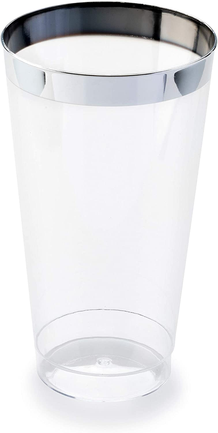 OCCASIONS 400 pcs Wedding Party Disposable Plastic tumblers Cups (16 Oz, Silver Rimmed Tumbler)