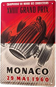 LEotiE SINCE 2004 Tin Sign Metal Plate Decorative Sign Home Decor Plaques Nostalgic Car Retro Monaco Grand Prix 1960 Vintage