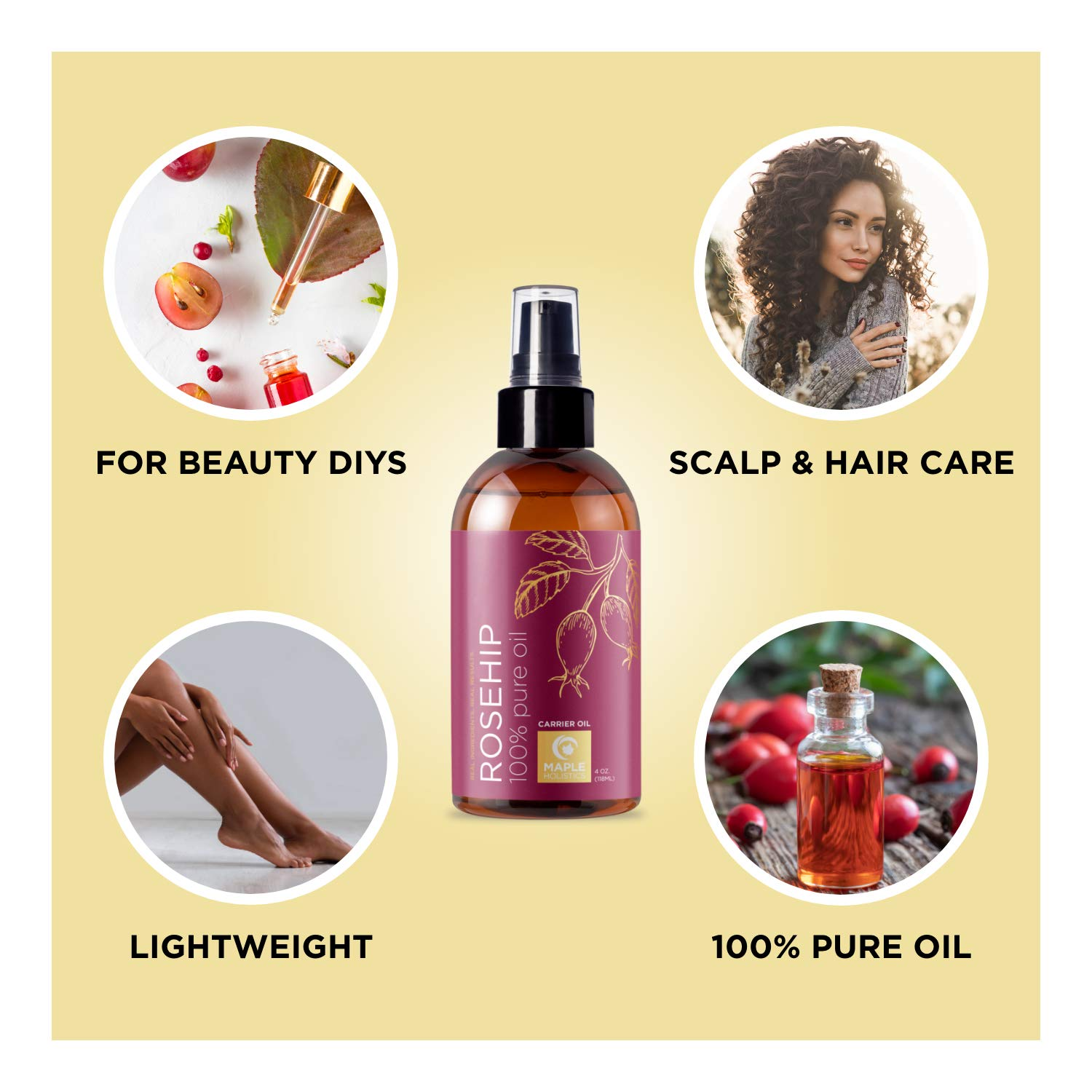 Pure Rosehip Oil for Face Care - Nourishing Rosehip Seed Oil Face Moisturizer for Dry Skin and Natural Hair Oil for Dry Hair - Anti Aging Face Serum with Pure Rose Hips and Vitamin E Oil for Skin