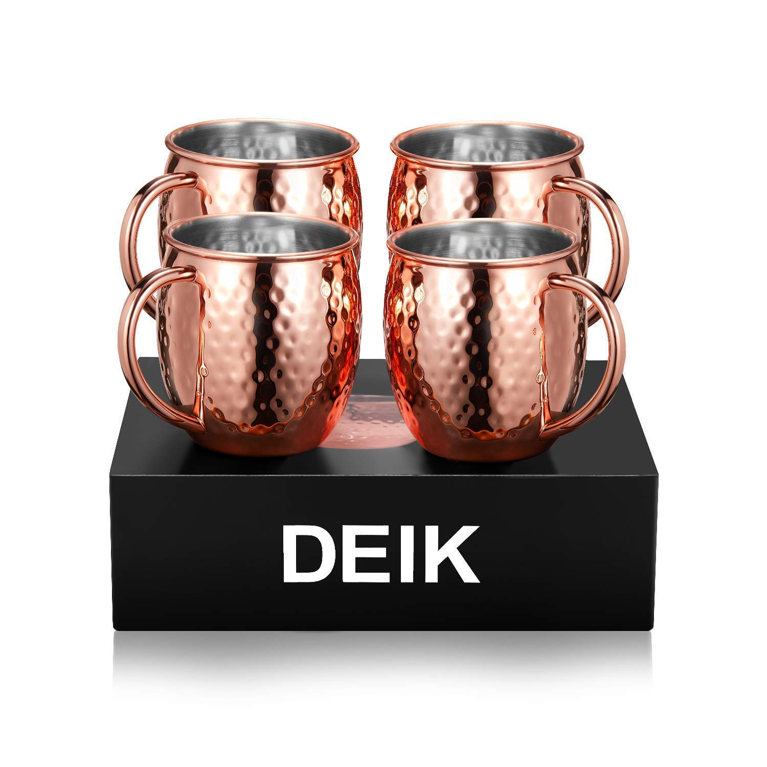 Deik Moscow Mule Mugs, 100% Handcrafted Copper Mule Cup Set of 4, Food-safe Copper Mugs 16 Ounce with Brass Handle and Stainless-Steel Lining, for Chilled Drinks by Deik