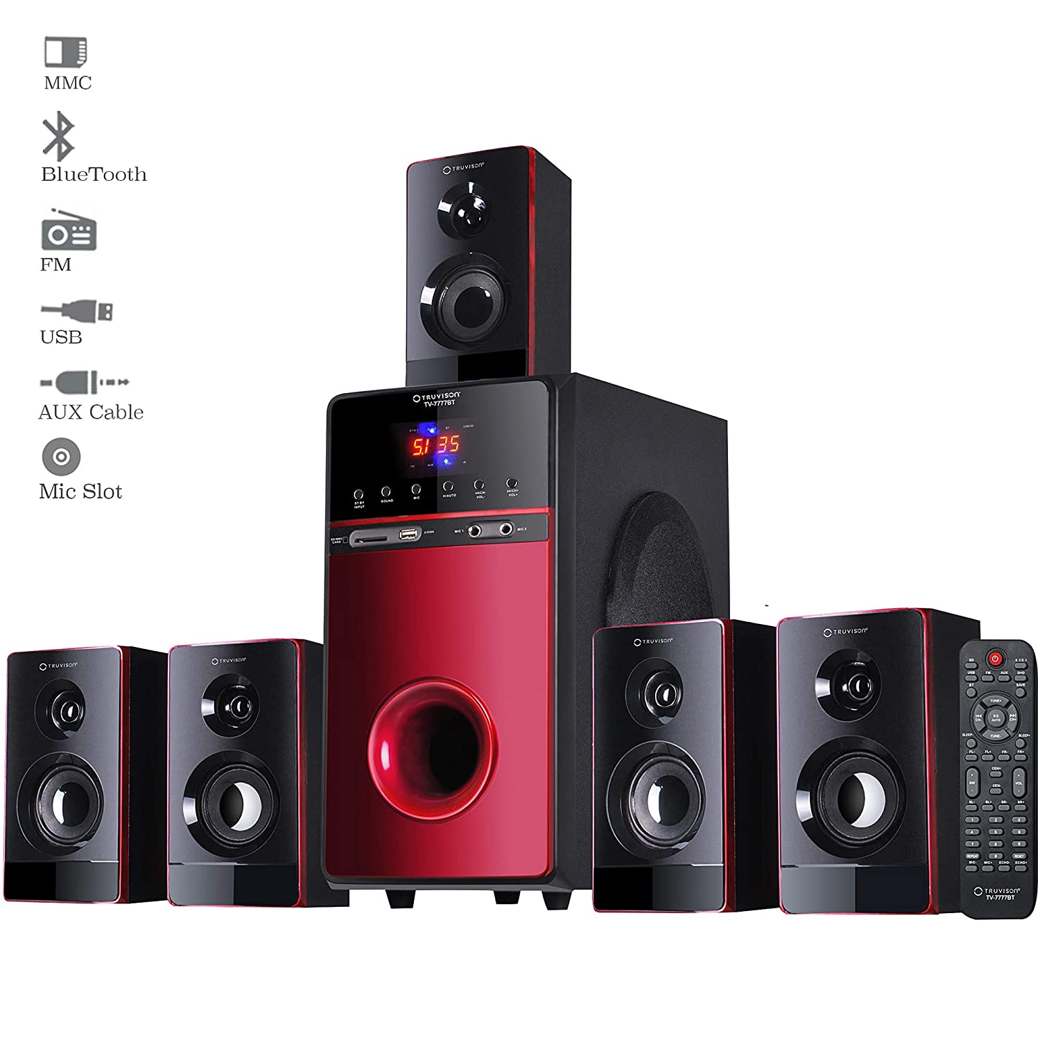 Truvison 5 1 Bluetooth Wooden Home Theater Speaker System Surround