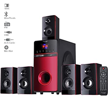 Truvison 9.9 Bluetooth Wooden Home Theater Speaker System Surround Sound  Theatre Subwoofer with for Computer Pc TV Music (Black and Red)