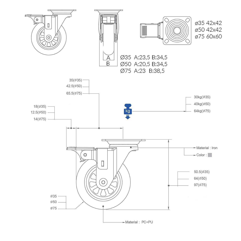50 QC-EMMA50T22P 4 Ruedas para muebles 2 con freno y 2 sin freno Di/ámetro 50mm con placa de montaje y tornillos incluidos.