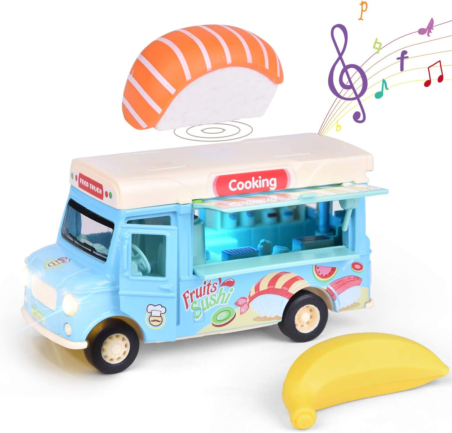 FUN LITTLE TOYS Pull Back Truck Sushi Car,Die Cast Food Truck with Sushi, Banana, Pretend Food Toys, Play Food Trucks for Kids, Blue