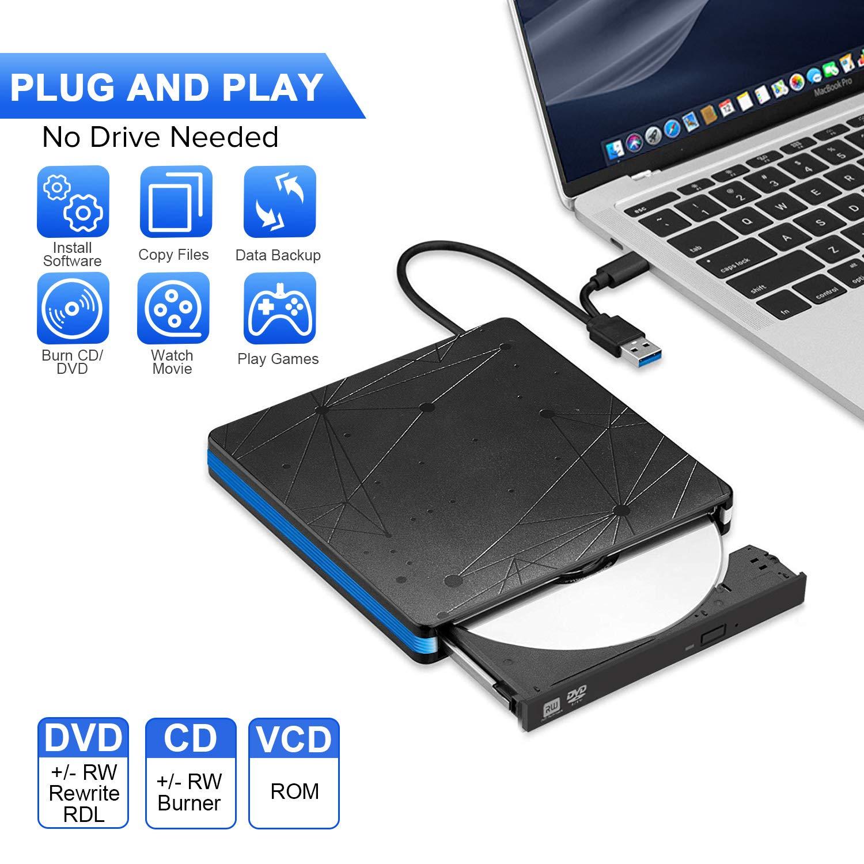Grabadora CD/DVD Externa USB 3.0 y Tipo C, BlueFire Unidades de Externa Portátil CD-RW/DVD-RW/ROM Drive con Capacidad de Corrección de Errores para ...