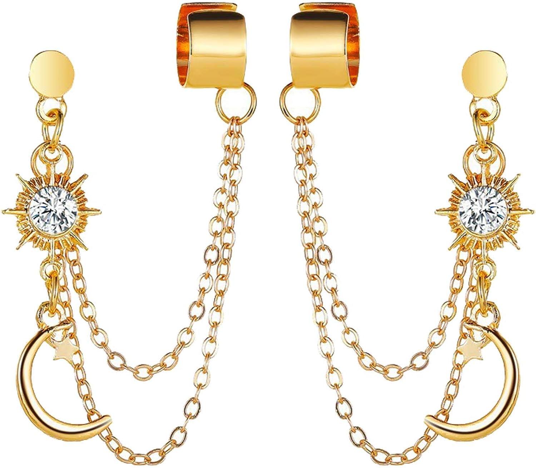 Gold Cngstar Star Shaped Ear Climber Small Star Moon Earrings for Women Accessories Celestial Earrings Jewelry