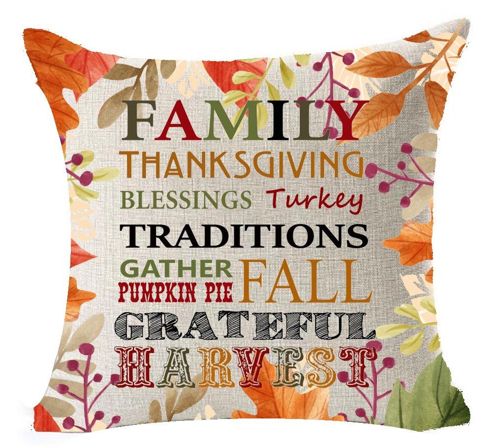 秋Pumpkin Maple Leaves Warm Sayingsファミリ感謝祭トルコBlessings Fall Grateful Harvestコットンリネンホームオフィス装飾スロー枕カバークッションカバー正方形18 x 18インチ 18 X 18 18 X 18 1 B07448D825