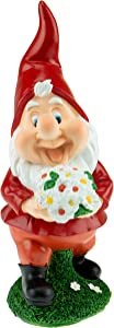 Clever Creations Garden Gnome - Funny Lawn Decoration - Happy Bouquet - Decor for Home, Garden, or Office