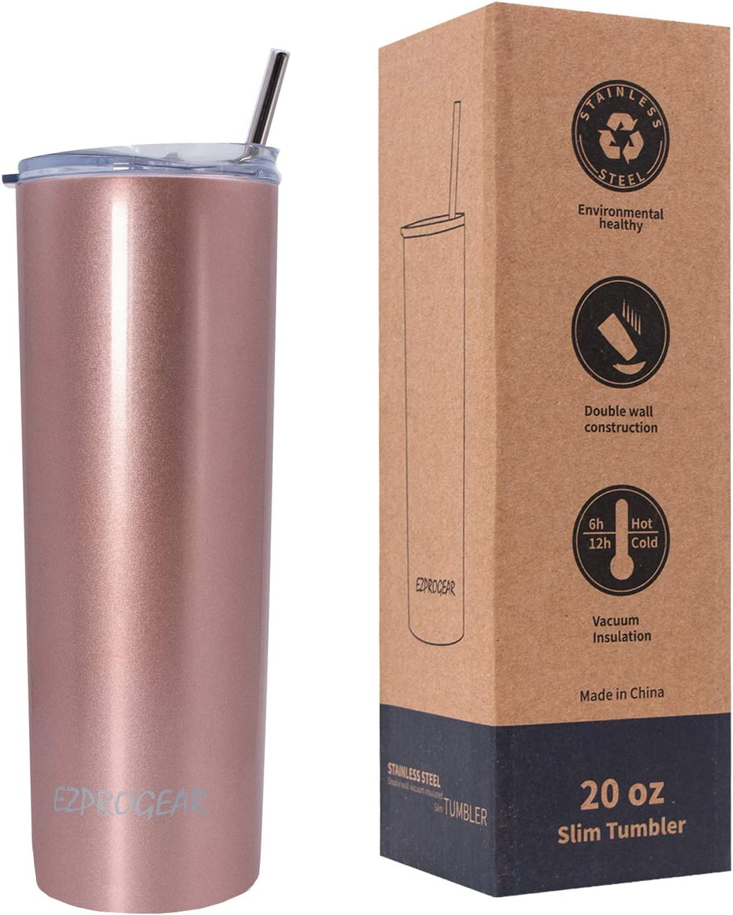 Ezprogear 20 oz Rose Gold Stainless Steel Slim Skinny Coffee Tumbler Vacuum Insulated with Straw (20 oz, Rose Gold)