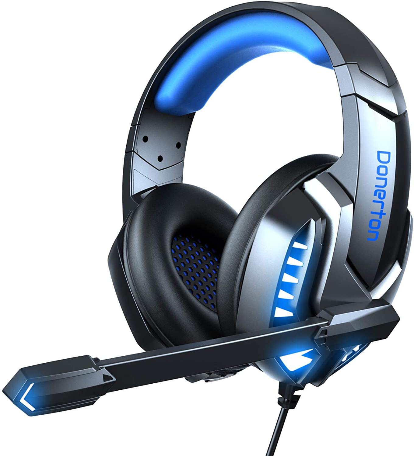 Donerton Gaming Headset, Over-Ear Gaming Headphones with Noise Canceling Mic, Stereo Bass Surround Sound, LED Light, Soft Memory Earmuffs PS4 Gaming Headset Compatible with PC, Laptop,Tablet