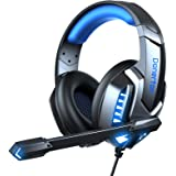 Donerton Gaming Headset, Over-Ear Gaming Headphones with Noise Canceling Mic, Stereo Bass Surround Sound, LED Light…