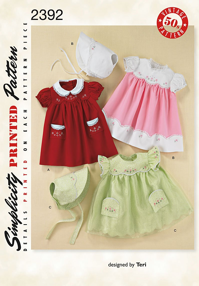 Simplicity Sewing Pattern 2392 Babies Dress and Bonnet Designed by Teri Sizes 1 -18 Months Simplicity Creative Patterns