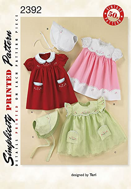Amazon Simplicity Sewing Pattern 2392 Babies Dress And Bonnet