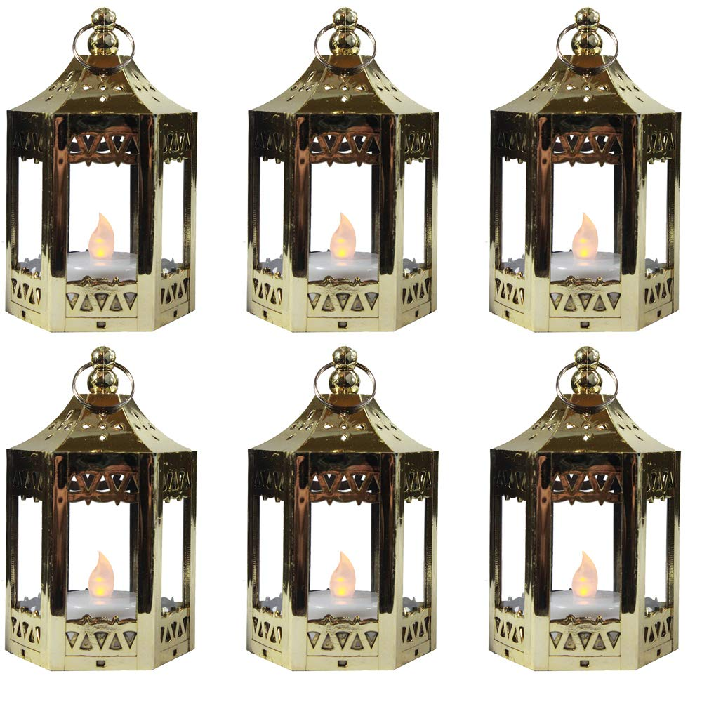 6pc Mini Gold Candle Lanterns with Flickering LED Tea Light Candle, Batteries Included