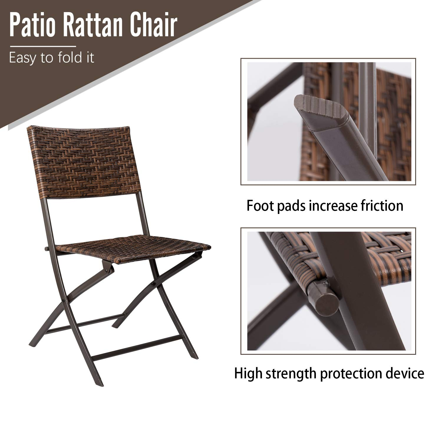 Brown Devoko Patio Bistro Sets Deck Folding Dining Chair /& Table 3 Pieces Outdoor Garden Poolside Beach Using Table and Chairs