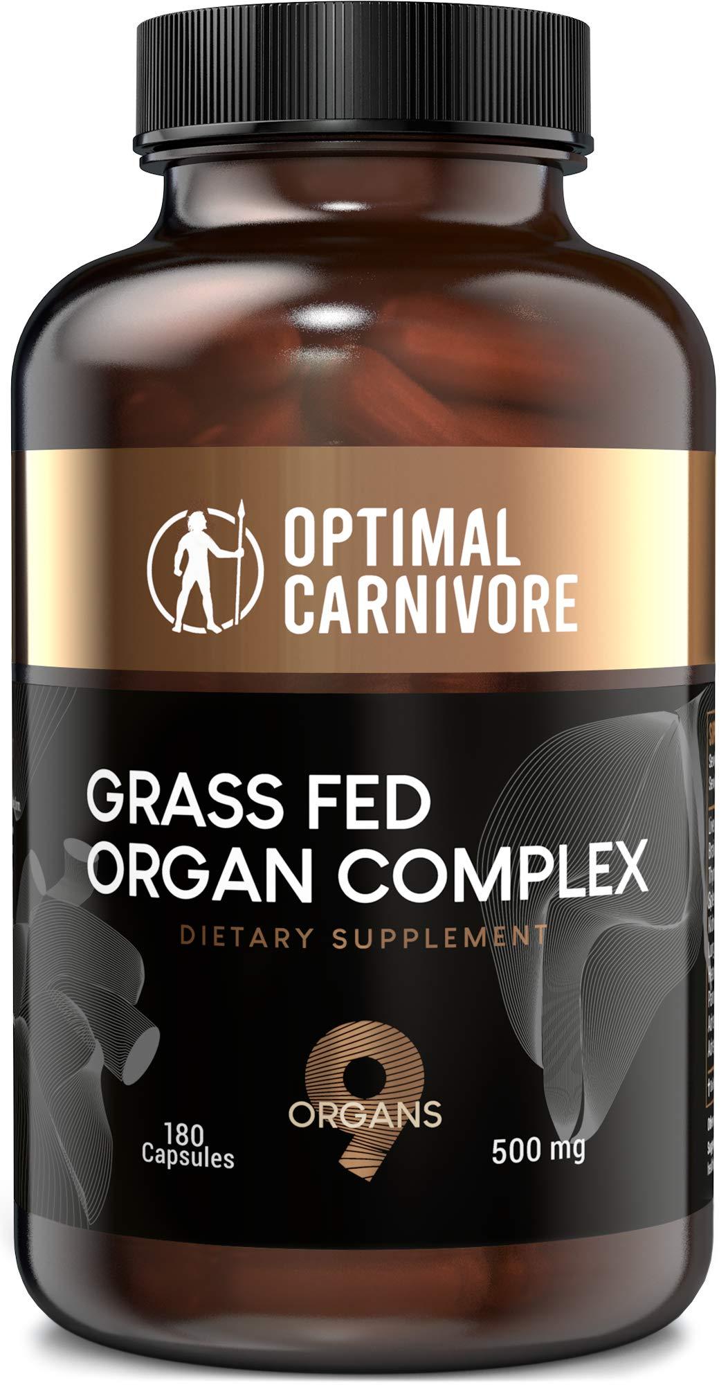 Grass Fed Organ Complex, Desiccated Beef Organs - Beef Liver, Brain, Heart, Thymus, Kidney, Spleen, Pancreas, Lung & Adrenals, Ancestral Formula (180 Capsules) by Optimal Carnivore by Optimal Carnivore
