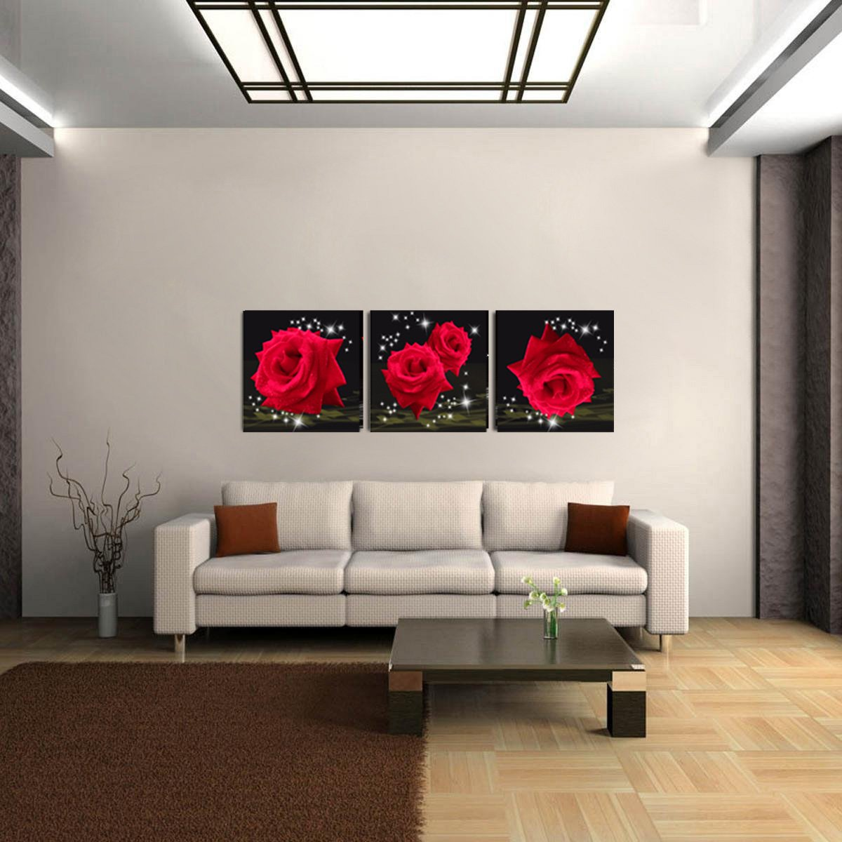 Mon Art Love Of Red Roses Modern Decorative Wall Canvas Set Of 3(UnStretched and UnFramed) by Mon Art (Image #4)