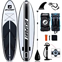 """AKSPORT 10'6""""×32""""×6"""" Inflatable Stand Up Paddle Board with Premium Non-Slip Deck,Travel Backpack,Adjustable Paddle,Pump…"""