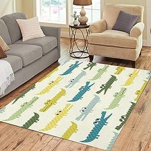 Pinbeam Area Rug Blue Boy Crocodile Cartoon Pattern Colorful Baby Alligator Home Decor Floor Rug 3' x 5' Carpet