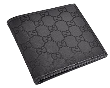 cef695005413d8 Gucci Men's GG Monogram Canvas and Leather Wallet - Black 143383 ...
