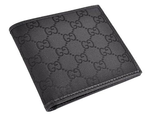 Gucci Hombre Gg Monogram – Cartera de lona y cuero Negro 143383