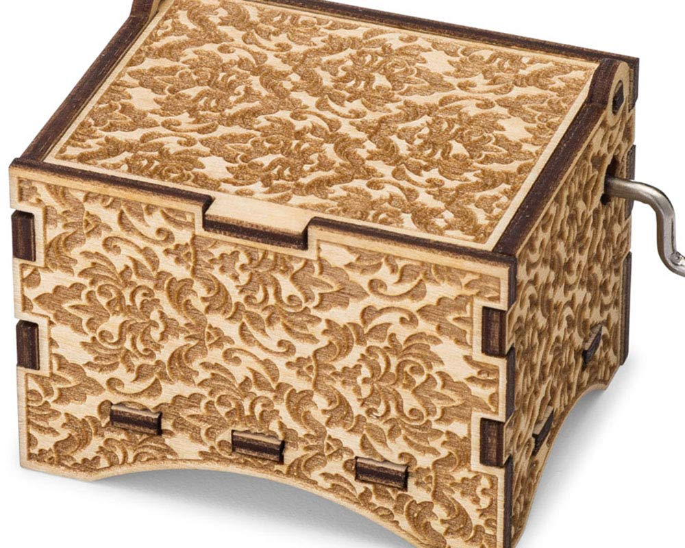 TheLaser'sEdge, Personalizable Damask Music Box, Laser Engraved Wood (Personalized, Can't Help Falling in Love)