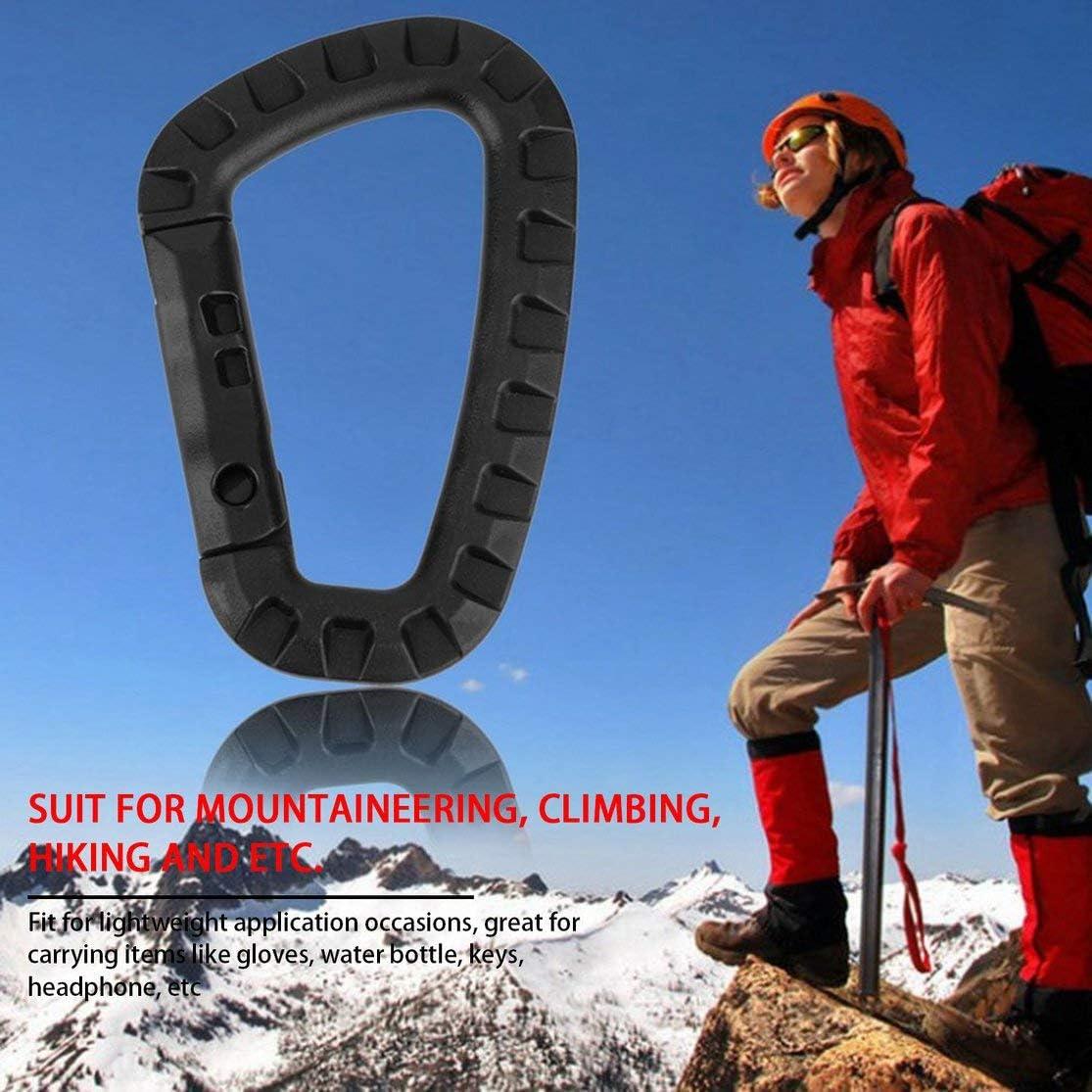 Gancho de Escalada en Forma de D Alpinismo Acero pl/ástico Kaemma Clip 200 LB Hebilla