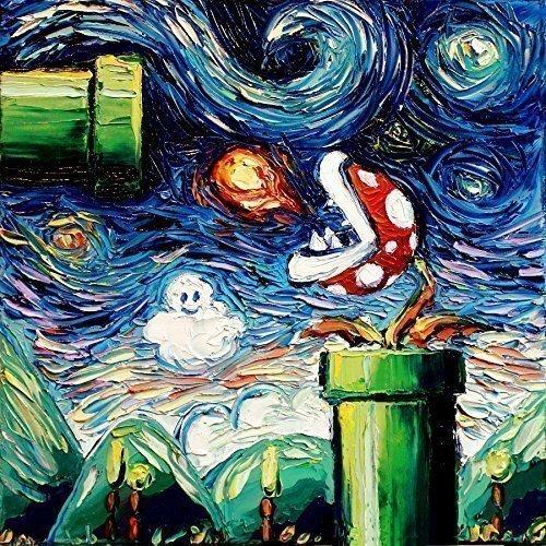 Starry Night Piranha Plant PRINT - Video Game Art - Poster print - giclee - Nintendo - van Gogh Never Leveled Up - Art by Aja 8x8, 10x10, 12x12, 20x20, 24x24 inches