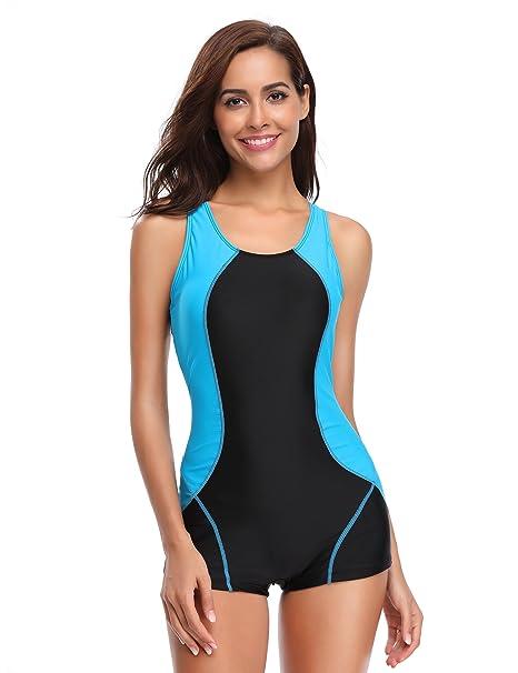 b6c8a735b3 LALAVAVA Womens One Piece Swimsuit Boyleg Sports Racerback Swimwear (Black  Blue, M)
