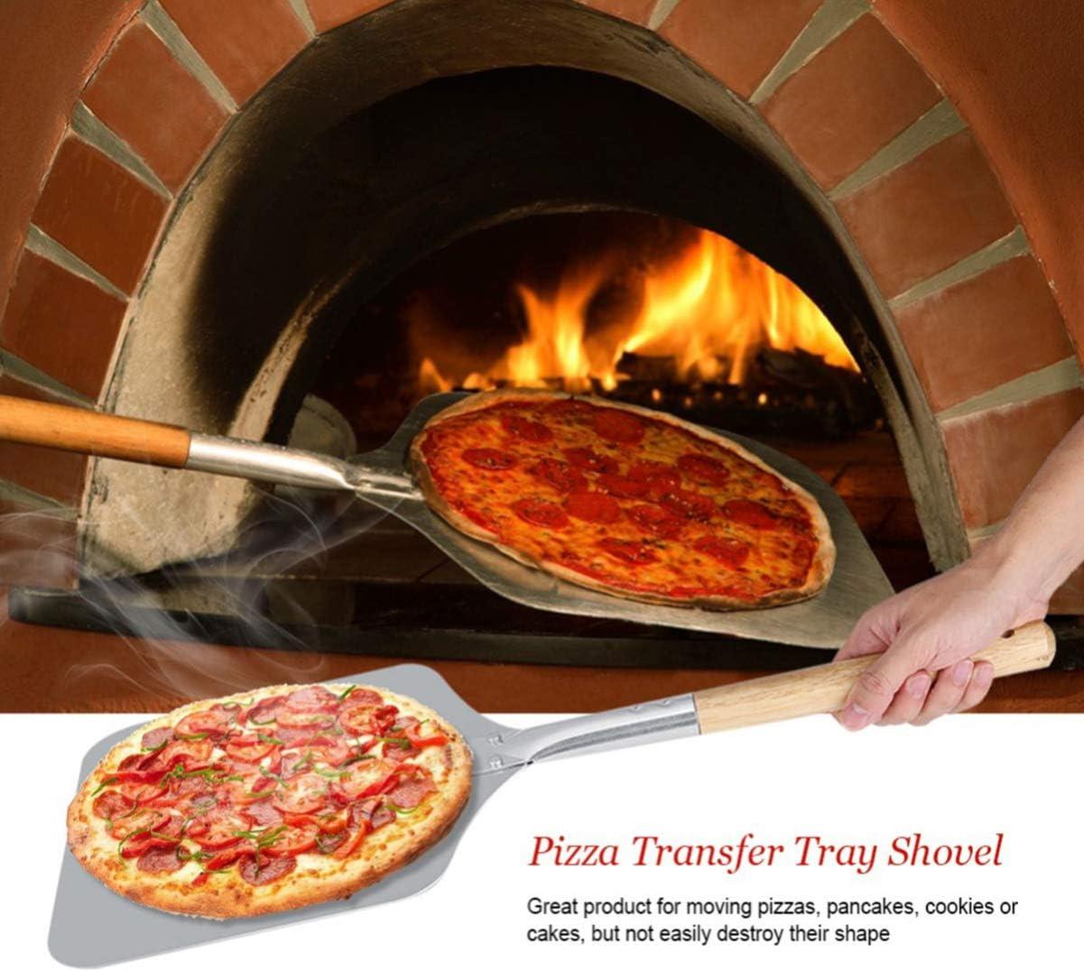 BESTonZON Pala para pizza de aluminio con cáscara para pizza – también se puede utilizar para cocinar pan en el horno – con amplia superficie 66 x ...