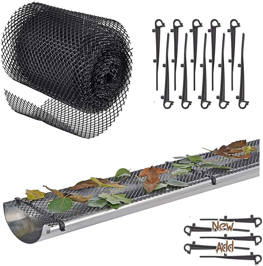 """Plastic Gutter Guard Mesh Protector – Screen Roll 6"""" x 20 Ft, 15 Clip Fixing Hooks, Leaf Protection Cover Netting to Stop Gutter Drain Downspout Clogging from Leaves or Debris"""