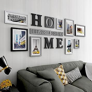 Kreative Bilderrahmen Collage Große Größe Wohnzimmer Massivholz Kombination  Rahmen Hintergrund Wand Dekoration ( Farbe : Multi