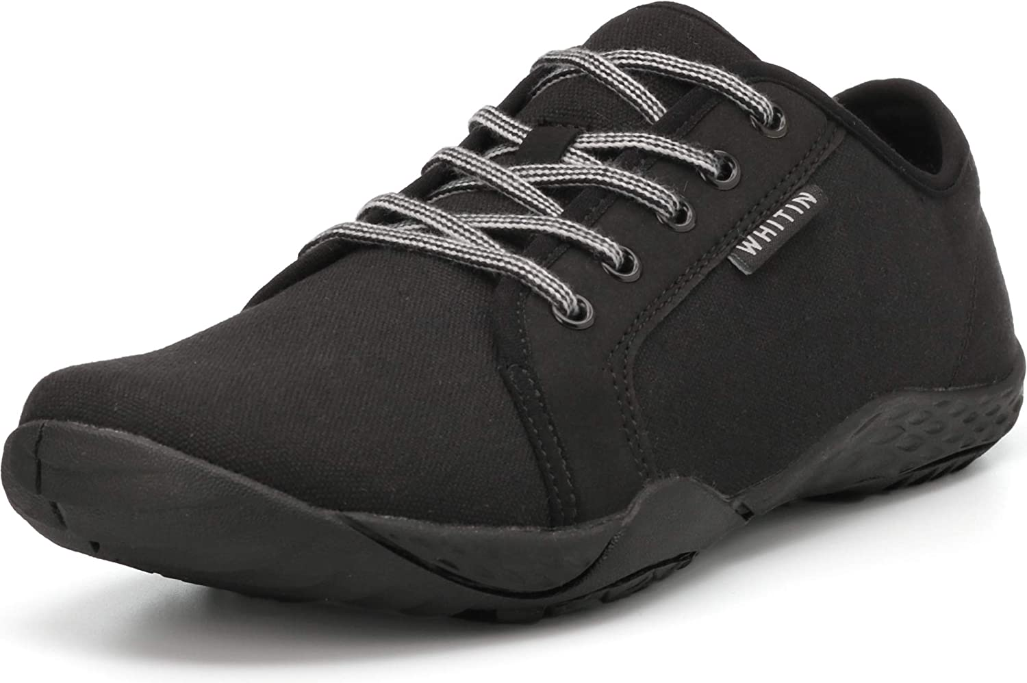 WHITIN Mens Canvas Barefoot Sneakers Arch Support Wide fit Zero Drop Sole
