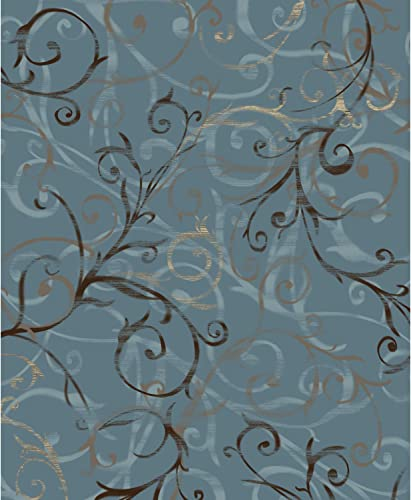 RUGGABLE Washable Indoor Outdoor Stain Resistant 8 x10 94 x120 Area Rug 2pc Set Cover and Pad Ironwork Swirls Slate Blue