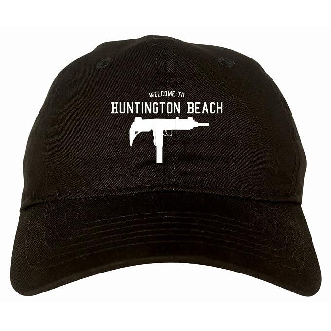 433cc245670 Welcome to Huntington Beach Uzi Machine Gun California 6 Panel Dad Hat Black