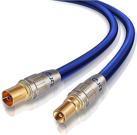 IBRA - 10m Cable de Antena HDTV Premium | Cable coaxial HDTV/Full HD | coaxial Macho en coaxial Hembra | UHF/RF/TDT | contactos Dorados | Azul