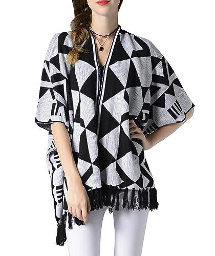 ELLAZHU mujeres Batwing mangas cortas que hacen punto la chaqueta de punto geométrica del suéter de ...