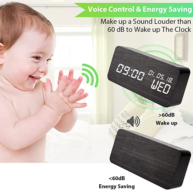 Reloj Digital Madera, Despertador de Madera Comando de voz Relojes Despertador LED Cubo 3 Niveles Brillo 3 Despertadors USB Pantalla Hora Fecha Semana ...