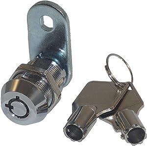 """Tubular Cam Lock with 7/8"""" Cylinder and Chrome Finish, Keyed Alike"""