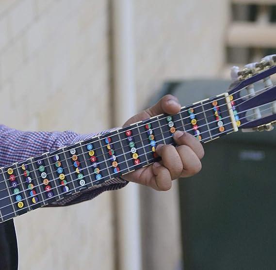 ... extraíble codificado por color - Pegatina para diapasón (para guitarras eléctricas y acústicas de 6 cuerdas): Amazon.es: Instrumentos musicales