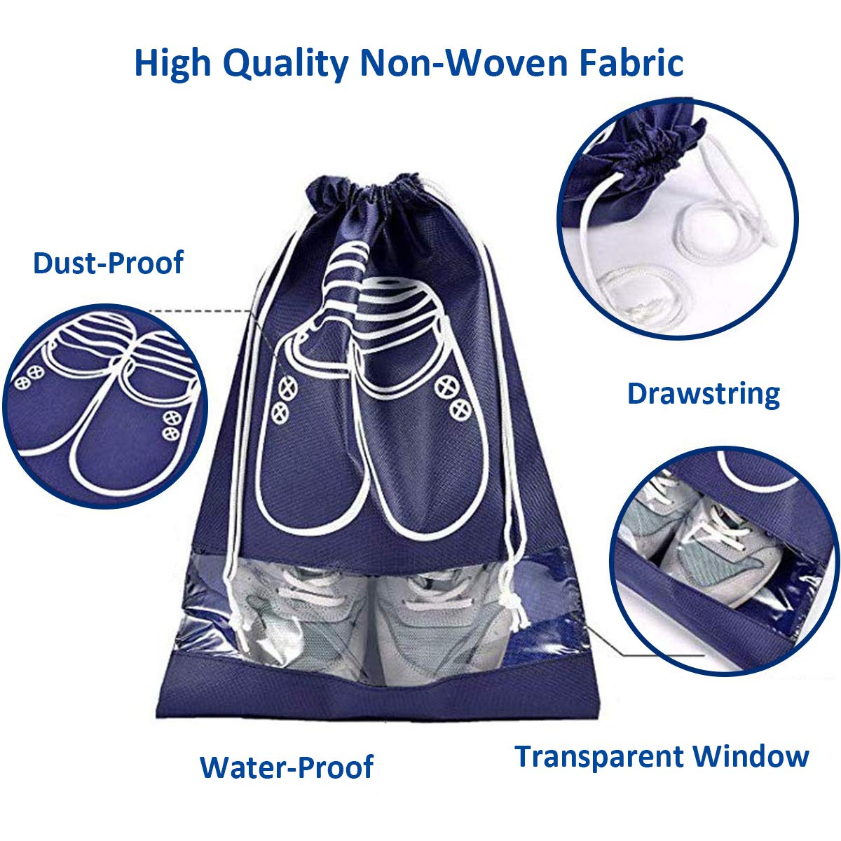 10 Packs Portable Travel Shoe Organizer, AIRERA Large Storage Bag for Men Shoes Dust-proof Breathable Transparent Window for Boots, High Heel Drawstring, Space Saving Storage Bags (45*32CM, Navy Blue)